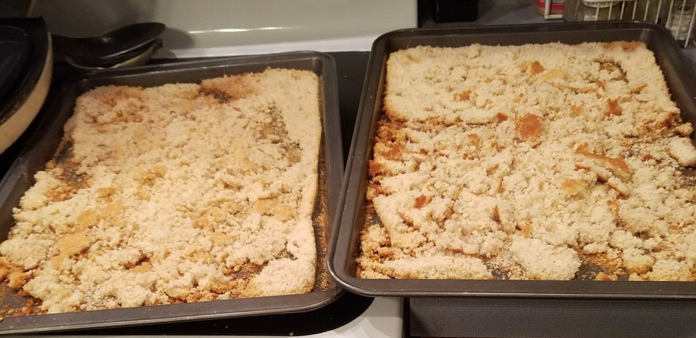 bread crumbs out of oven not crumbled 2 pans