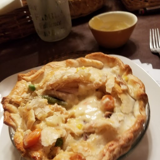 chicken meat pie cut hole see cooked inside