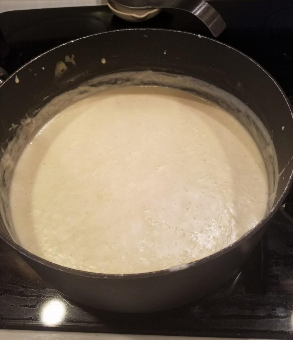 white cream sauce